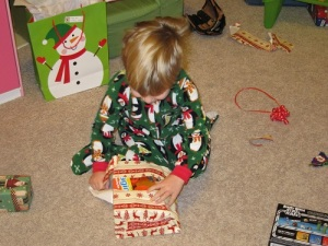 Ethan opening gifts