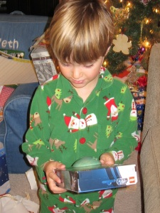Seth opening gifts