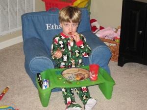 Ethan eating cinnamon rolls