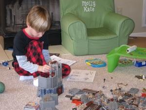 Carter building the Lego castle